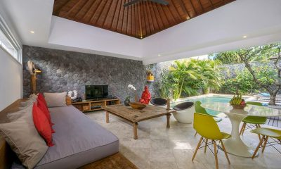 Chakra Villas Villa Anahata Living Area with TV | Seminyak, Bali