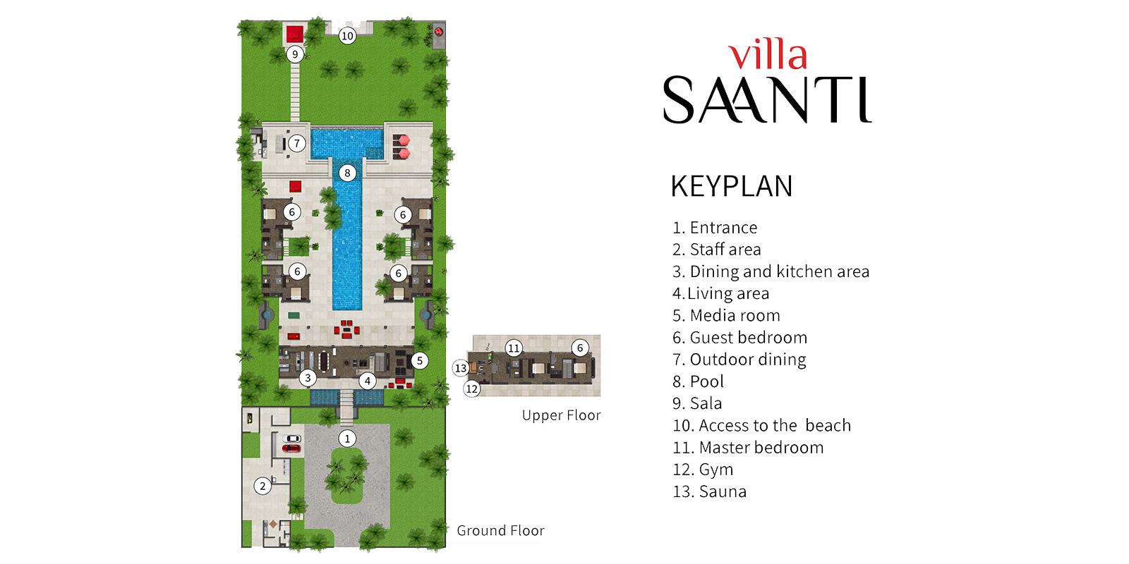 Villa Saanti Floor Plan | Natai, Phang Nga