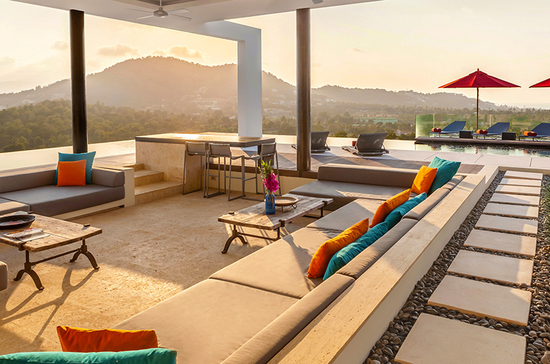 Villa Sangkachai Living Area with Sunset Views | Choeng Mon, Koh Samui