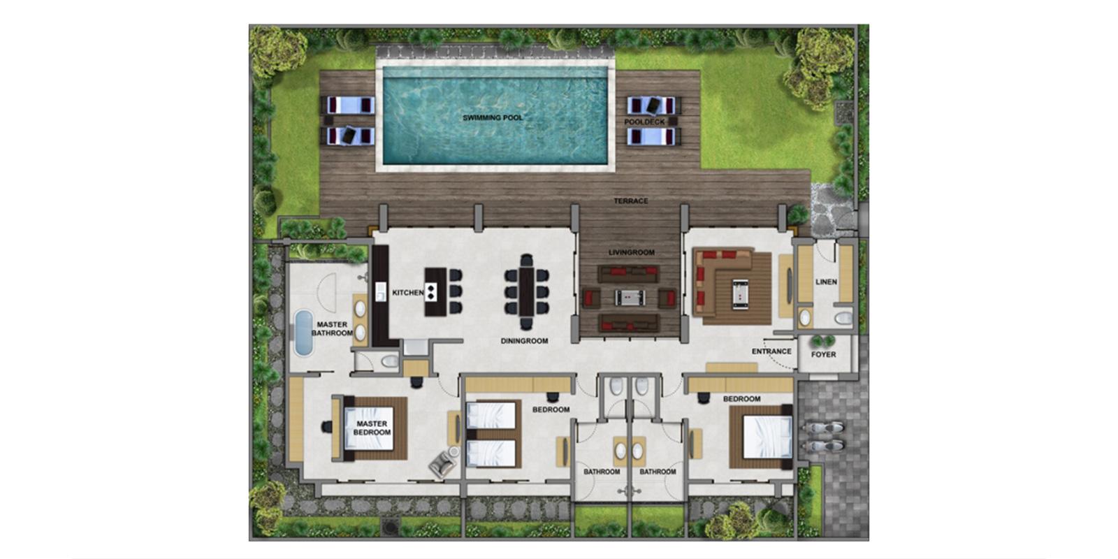 Villa Damai Aramanis Floor Plan | Seminyak, Bali