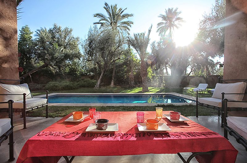 Villa Lankah Dining Area with Pool Views | Marrakech, Morocco