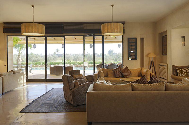 Villa Malekis Living Area with Pool Views | Marrakech, Morocco