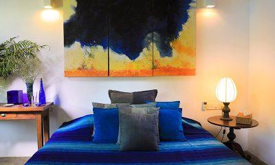 Saffron & Blue Bedroom with Lamps | Kosgoda, Sri Lanka