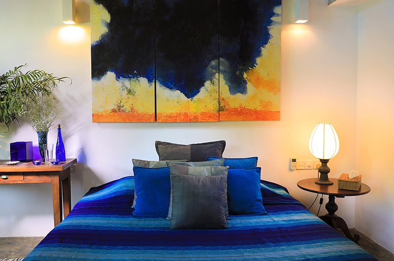 Saffron & Blue Bedroom with Lamps | Kosgoda, Sri Lanka