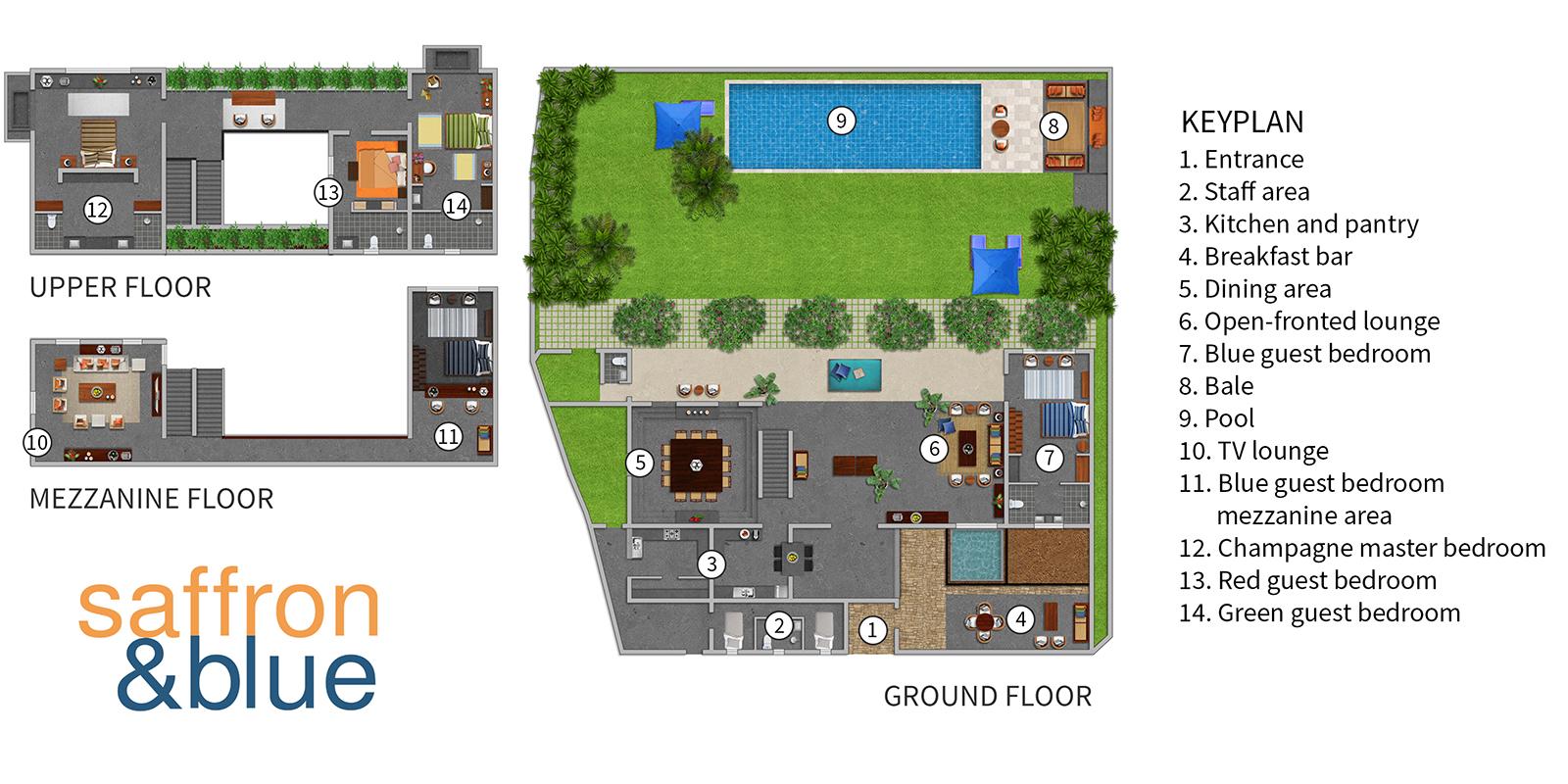 Saffron & Blue Floor Plan | Kosgoda, Sri Lanka