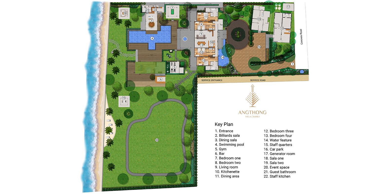 Villa Angthong Floor Plan | Choeng Mon, Koh Samui