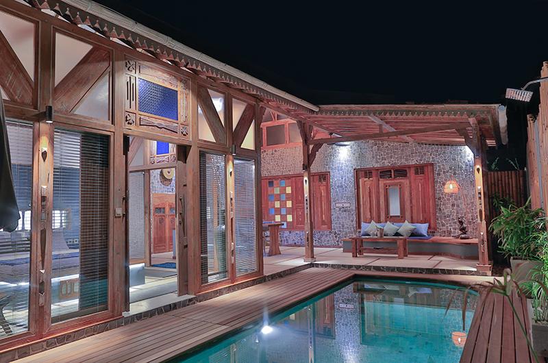 Samsara Villas Indoor Living Area with Pool View | Gili Air, Lombok