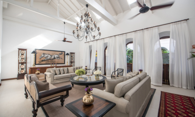 Lighthouse Street Living Area with High Ceiling and Chandelier | Galle, Sri Lanka