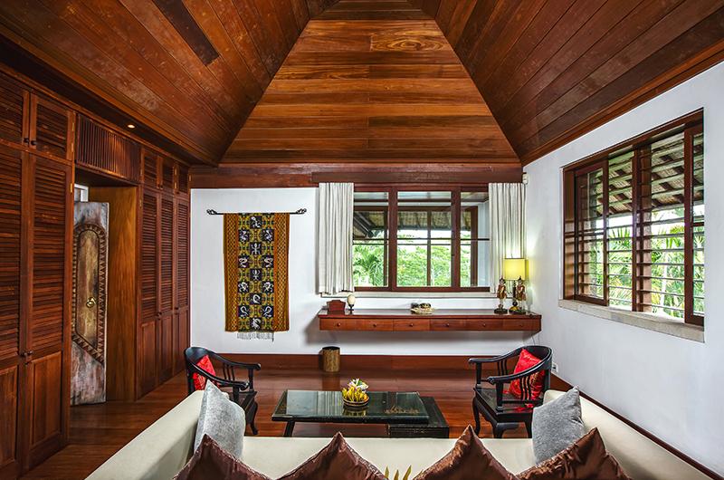 Villa Bukit Naga Bedroom Seating Area with Glass Table | Gianyar, Bali
