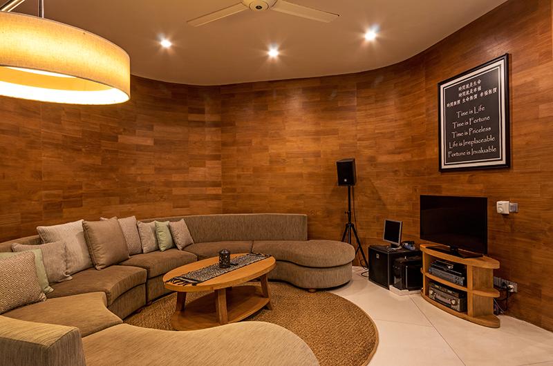 Villa Pancaloka Indoor Seating Area with Entertainment Unit | Jimbaran, Bali