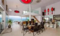 Villa Loramatari Open Plan Living and Dining Area with Sea View | Choeng Mon, Koh Samui