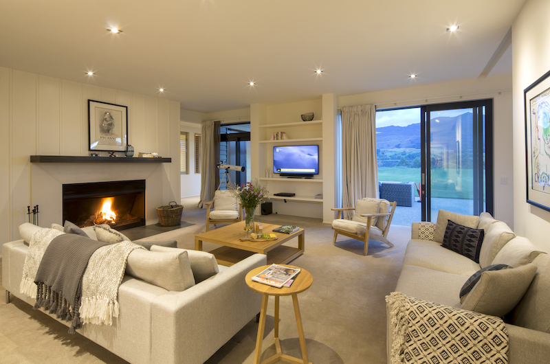 Alpine Retreat Living Room with Fire Place | Queenstown, Otago