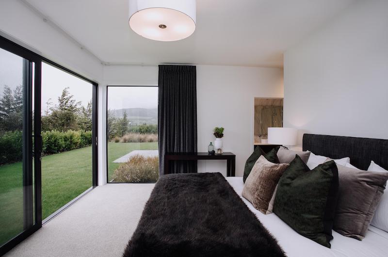 Falconer Rise Bedroom with Velvet Sheet | Queenstown, Otago