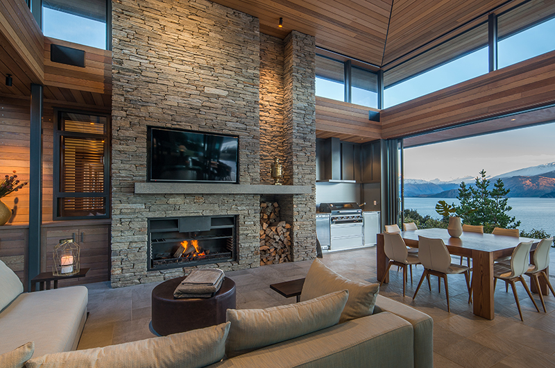 The Dacha Living Room with Fire Place | Wanaka, Otago