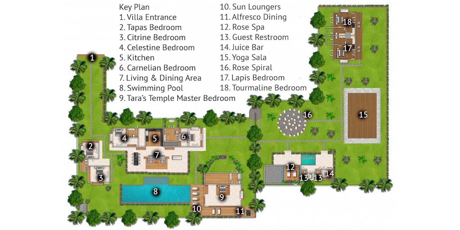Villa Crystal Castle Floor Plan | Ubud, Bali