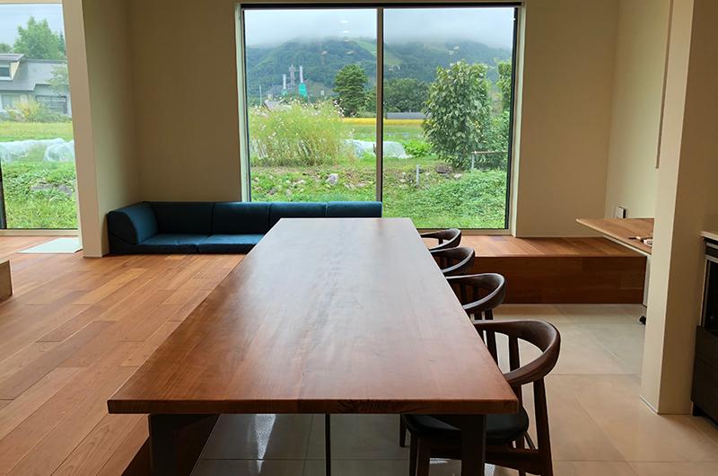 Bikei Chalet Wooden Dining Table   Hakuba, Nagano